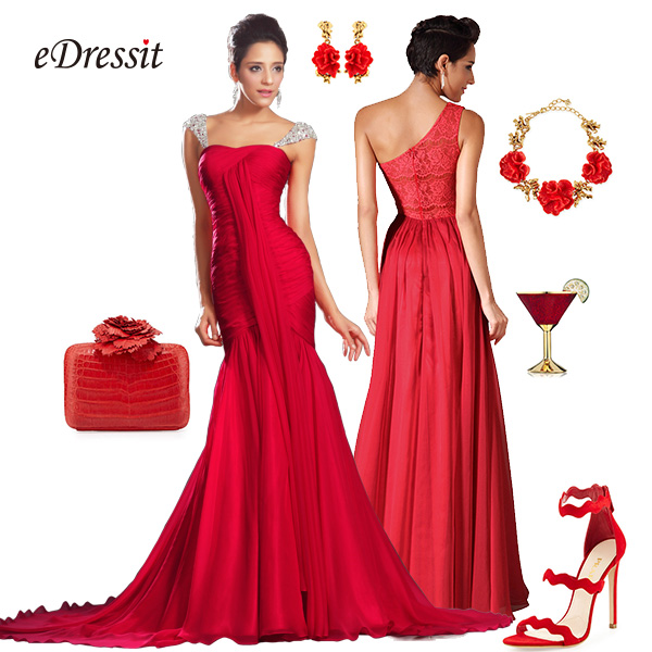 Red prom dress fashion in the box for Costume jewelry for evening gowns